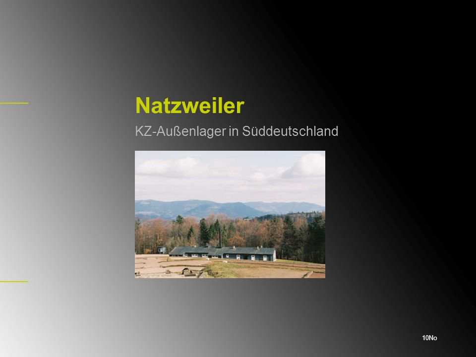 Zahl der Außenlager Im Dezember 1943 gab es lediglich sieben Natzweiler- Außenlager.