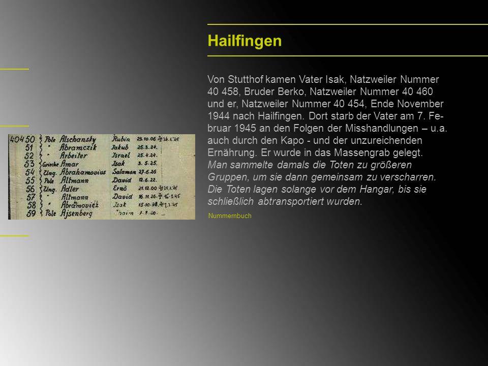 Hailfingen Von Stutthof kamen Vater Isak, Natzweiler Nummer 40 458, Bruder Berko, Natzweiler Nummer 40 460 und er, Natzweiler Nummer 40 454, Ende Nove
