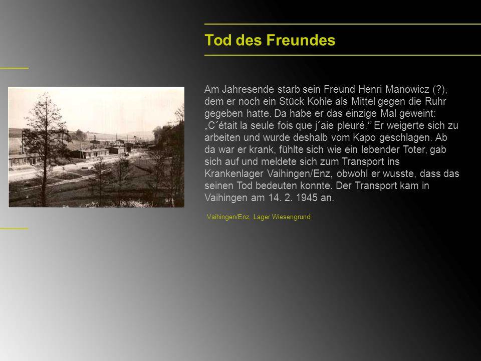 Tod des Freundes Am Jahresende starb sein Freund Henri Manowicz (?), dem er noch ein Stück Kohle als Mittel gegen die Ruhr gegeben hatte. Da habe er d