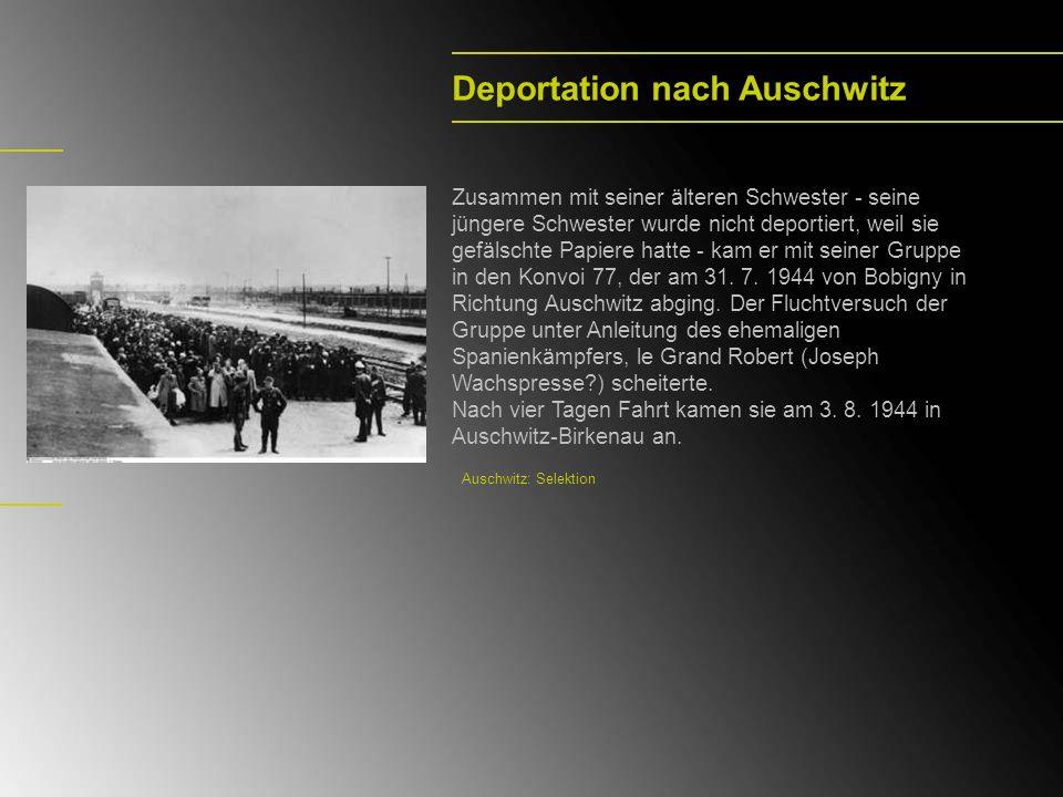 Deportation nach Auschwitz Zusammen mit seiner älteren Schwester - seine jüngere Schwester wurde nicht deportiert, weil sie gefälschte Papiere hatte -