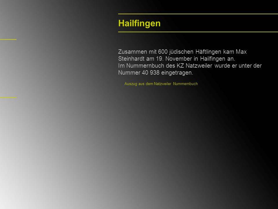 Hailfingen Zusammen mit 600 jüdischen Häftlingen kam Max Steinhardt am 19. November in Hailfingen an. Im Nummernbuch des KZ Natzweiler wurde er unter
