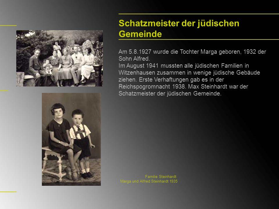 Schatzmeister der jüdischen Gemeinde Am 5.8.1927 wurde die Tochter Marga geboren, 1932 der Sohn Alfred. Im August 1941 mussten alle jüdischen Familien