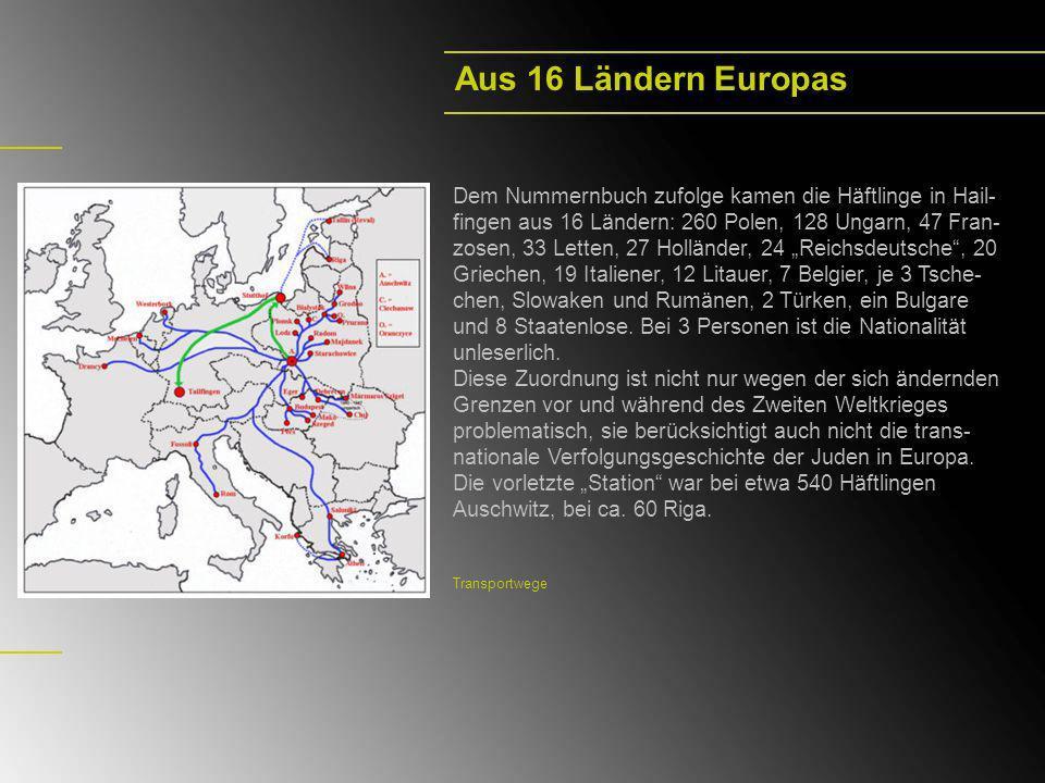 Dem Nummernbuch zufolge kamen die Häftlinge in Hail- fingen aus 16 Ländern: 260 Polen, 128 Ungarn, 47 Fran- zosen, 33 Letten, 27 Holländer, 24 Reichsd