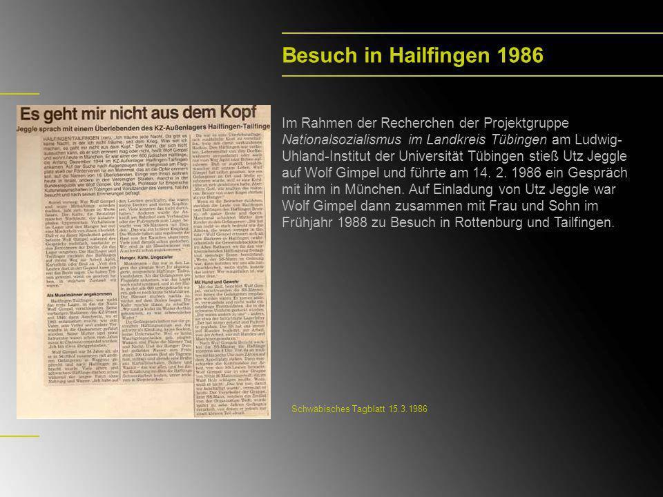 Besuch in Hailfingen 1986 Im Rahmen der Recherchen der Projektgruppe Nationalsozialismus im Landkreis Tübingen am Ludwig- Uhland-Institut der Universi