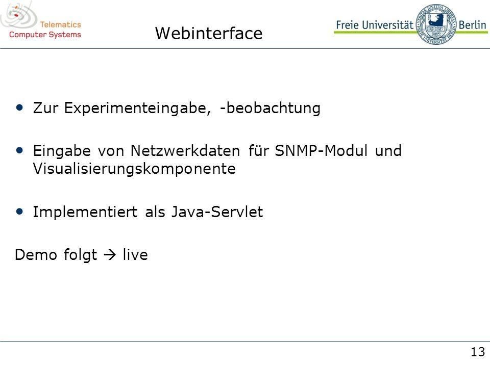 13 Webinterface Zur Experimenteingabe, -beobachtung Eingabe von Netzwerkdaten für SNMP-Modul und Visualisierungskomponente Implementiert als Java-Serv