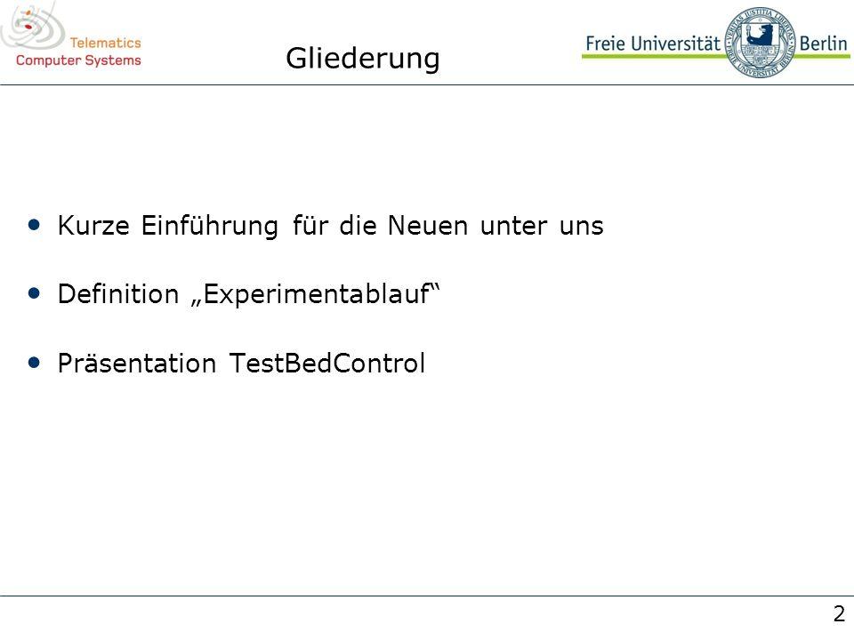2 Gliederung Kurze Einführung für die Neuen unter uns Definition Experimentablauf Präsentation TestBedControl