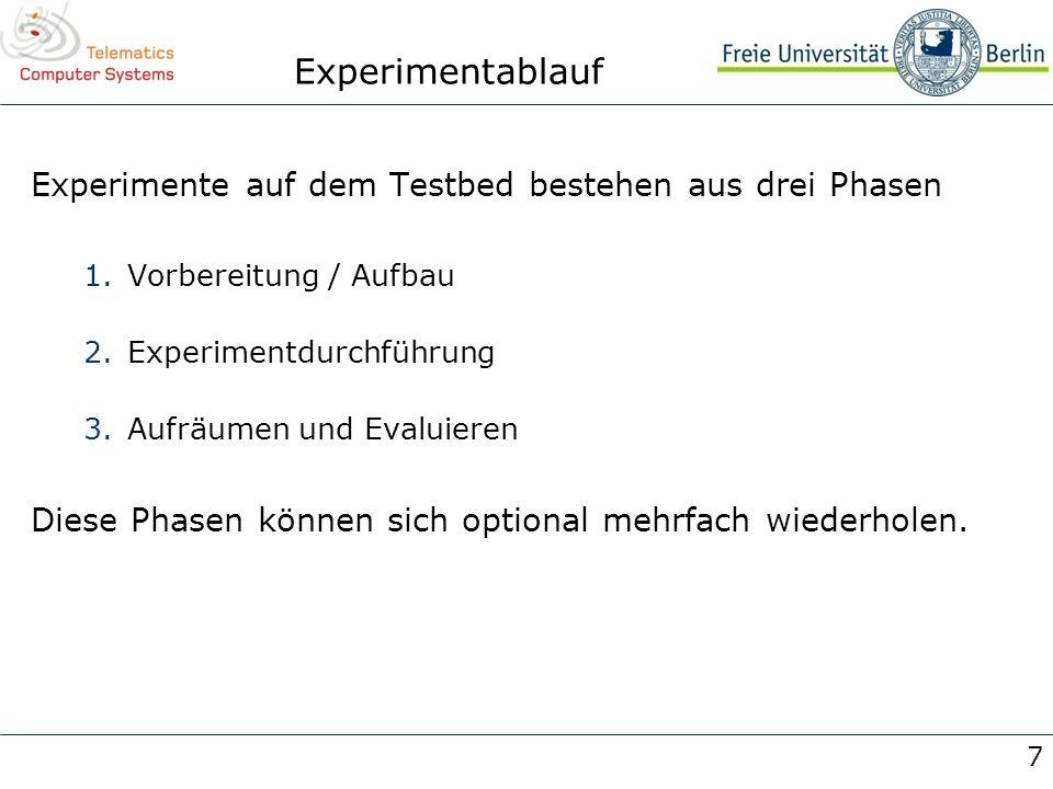 7 Experimentablauf Experimente auf dem Testbed bestehen aus drei Phasen 1.Vorbereitung / Aufbau 2.Experimentdurchführung 3.Aufräumen und Evaluieren Di