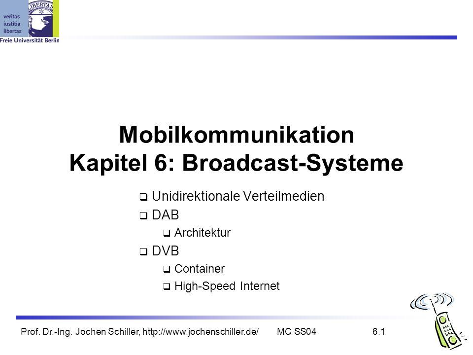 Prof. Dr.-Ing. Jochen Schiller, http://www.jochenschiller.de/MC SS046.1 Mobilkommunikation Kapitel 6: Broadcast-Systeme Unidirektionale Verteilmedien