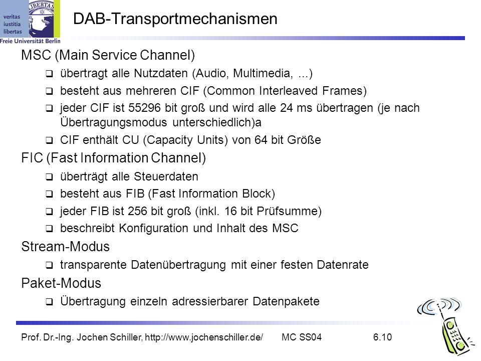 Prof. Dr.-Ing. Jochen Schiller, http://www.jochenschiller.de/MC SS046.10 DAB-Transportmechanismen MSC (Main Service Channel) übertragt alle Nutzdaten
