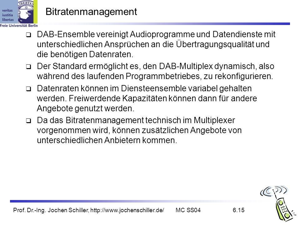 Prof. Dr.-Ing. Jochen Schiller, http://www.jochenschiller.de/MC SS046.15 Bitratenmanagement DAB-Ensemble vereinigt Audioprogramme und Datendienste mit