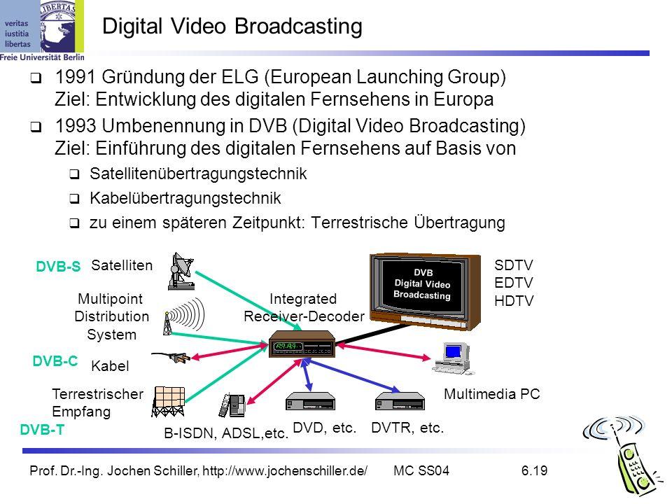Prof. Dr.-Ing. Jochen Schiller, http://www.jochenschiller.de/MC SS046.19 Digital Video Broadcasting 1991 Gründung der ELG (European Launching Group) Z