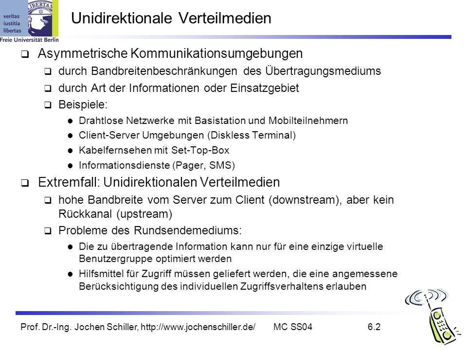 Prof. Dr.-Ing. Jochen Schiller, http://www.jochenschiller.de/MC SS046.2 Unidirektionale Verteilmedien Asymmetrische Kommunikationsumgebungen durch Ban