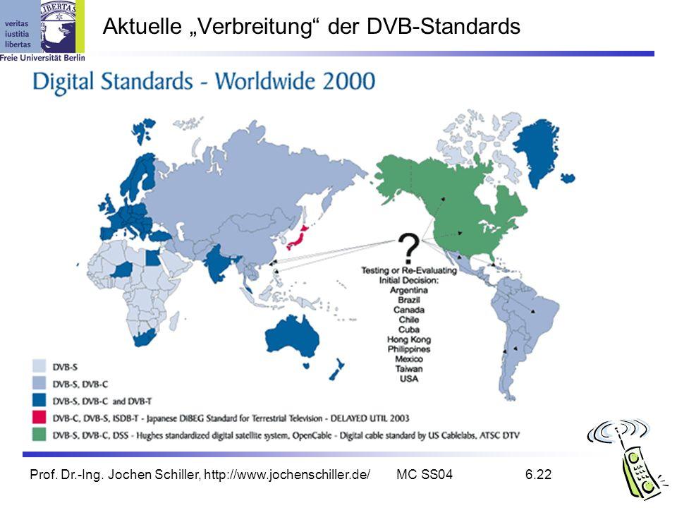 Prof. Dr.-Ing. Jochen Schiller, http://www.jochenschiller.de/MC SS046.22 Aktuelle Verbreitung der DVB-Standards