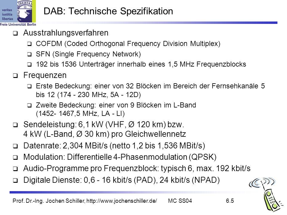 Prof. Dr.-Ing. Jochen Schiller, http://www.jochenschiller.de/MC SS046.5 DAB: Technische Spezifikation Ausstrahlungsverfahren COFDM (Coded Orthogonal F