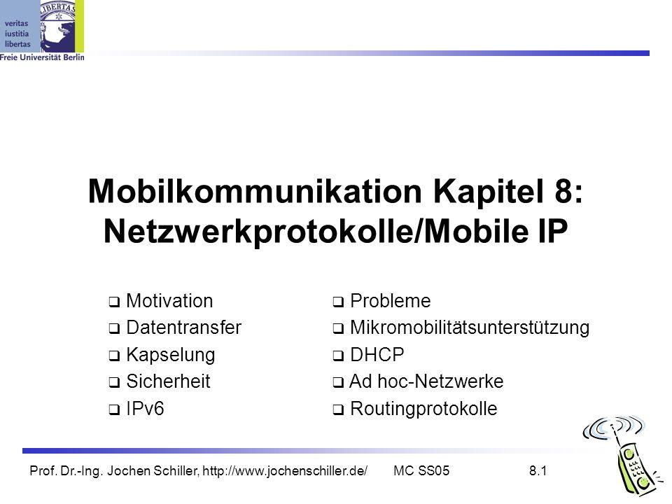 Prof. Dr.-Ing. Jochen Schiller, http://www.jochenschiller.de/MC SS058.1 Mobilkommunikation Kapitel 8: Netzwerkprotokolle/Mobile IP Motivation Datentra