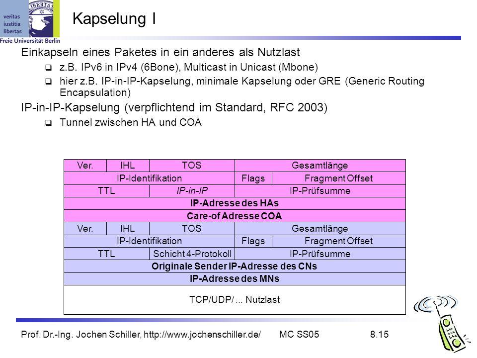 Prof. Dr.-Ing. Jochen Schiller, http://www.jochenschiller.de/MC SS058.15 Kapselung I Einkapseln eines Paketes in ein anderes als Nutzlast z.B. IPv6 in
