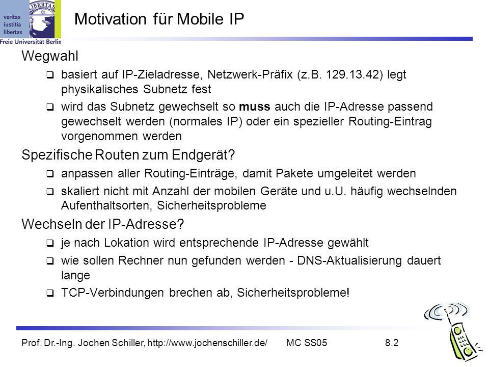 Prof. Dr.-Ing. Jochen Schiller, http://www.jochenschiller.de/MC SS058.2 Motivation für Mobile IP Wegwahl basiert auf IP-Zieladresse, Netzwerk-Präfix (