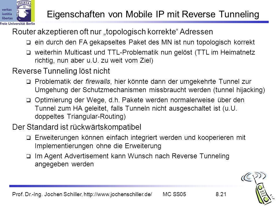 Prof. Dr.-Ing. Jochen Schiller, http://www.jochenschiller.de/MC SS058.21 Eigenschaften von Mobile IP mit Reverse Tunneling Router akzeptieren oft nur