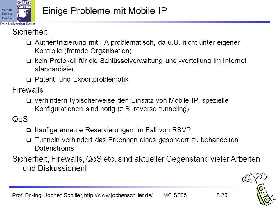 Prof. Dr.-Ing. Jochen Schiller, http://www.jochenschiller.de/MC SS058.23 Einige Probleme mit Mobile IP Sicherheit Authentifizierung mit FA problematis