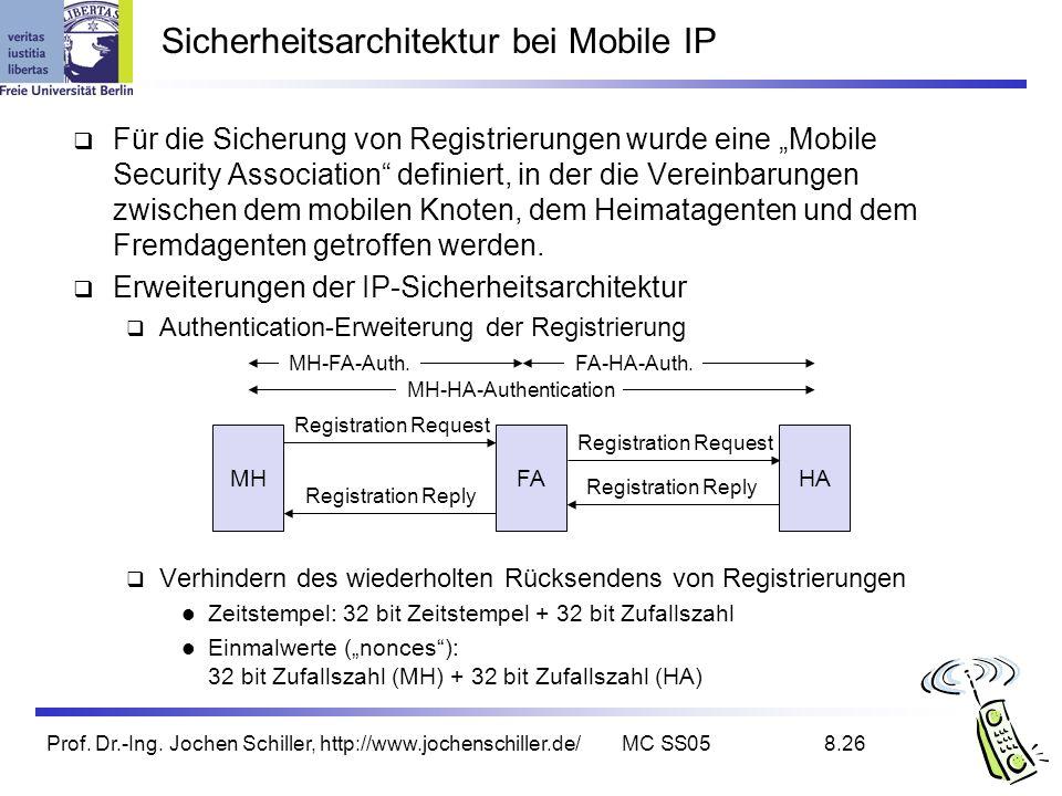 Prof. Dr.-Ing. Jochen Schiller, http://www.jochenschiller.de/MC SS058.26 Für die Sicherung von Registrierungen wurde eine Mobile Security Association