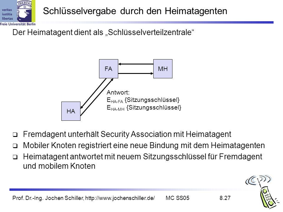 Prof. Dr.-Ing. Jochen Schiller, http://www.jochenschiller.de/MC SS058.27 Schlüsselvergabe durch den Heimatagenten Der Heimatagent dient als Schlüsselv