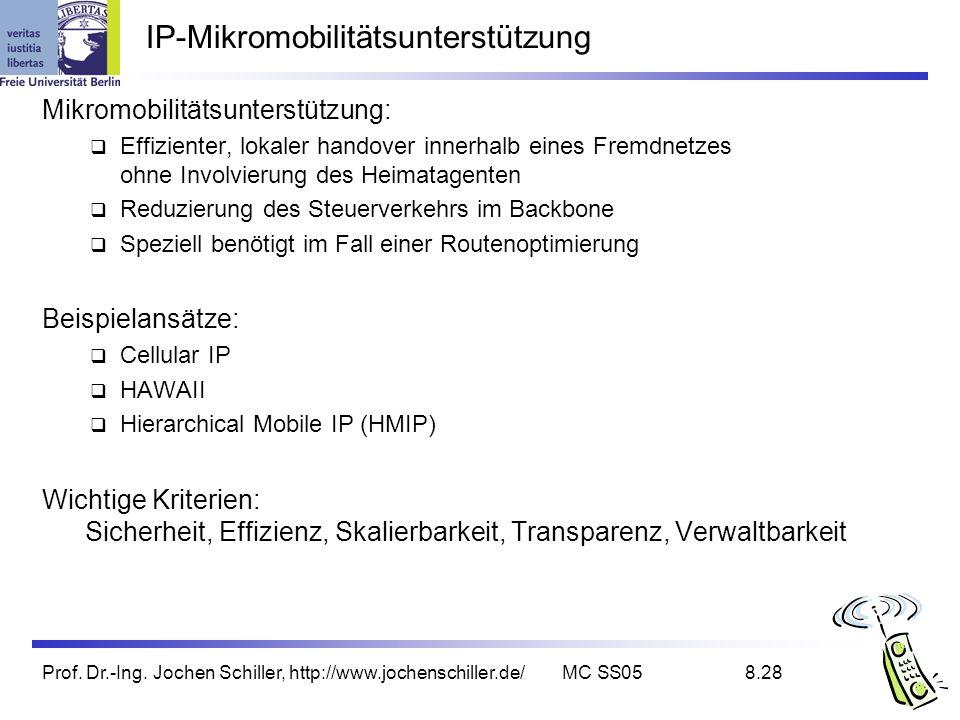Prof. Dr.-Ing. Jochen Schiller, http://www.jochenschiller.de/MC SS058.28 IP-Mikromobilitätsunterstützung Mikromobilitätsunterstützung: Effizienter, lo