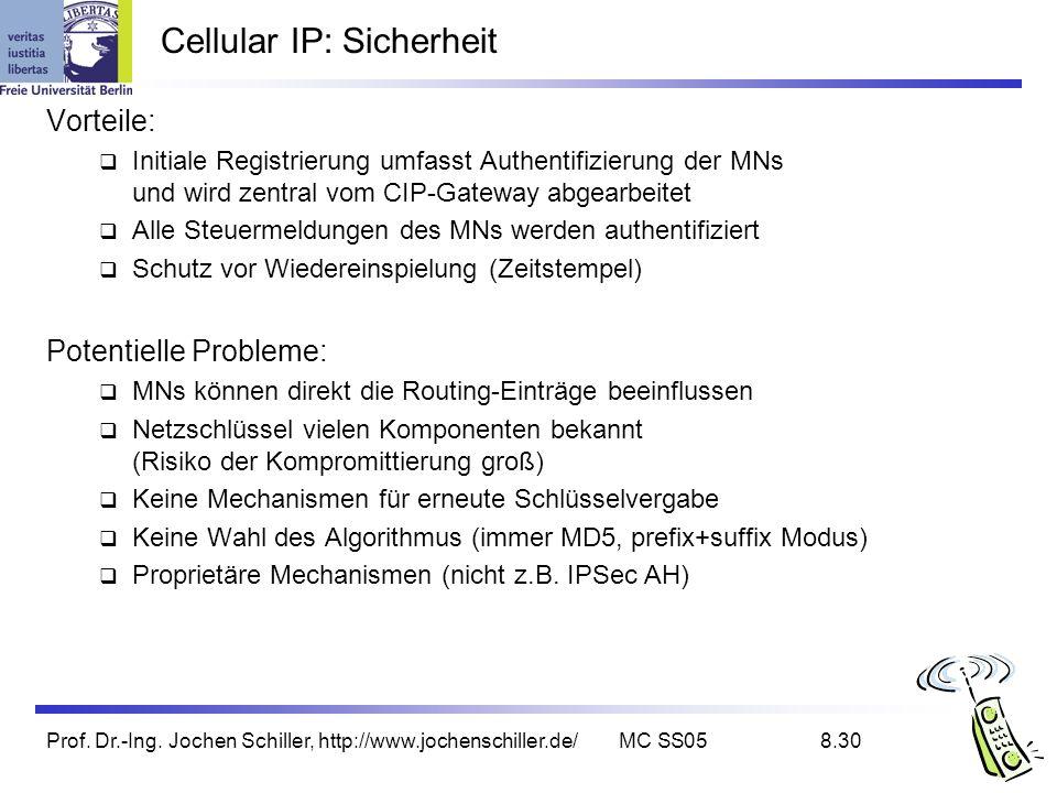 Prof. Dr.-Ing. Jochen Schiller, http://www.jochenschiller.de/MC SS058.30 Cellular IP: Sicherheit Vorteile: Initiale Registrierung umfasst Authentifizi