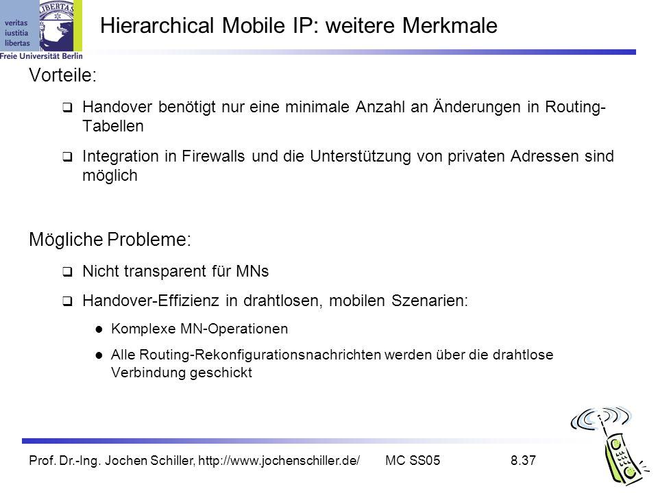 Prof. Dr.-Ing. Jochen Schiller, http://www.jochenschiller.de/MC SS058.37 Hierarchical Mobile IP: weitere Merkmale Vorteile: Handover benötigt nur eine