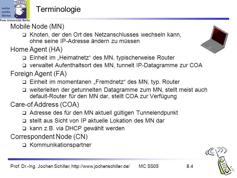 Prof. Dr.-Ing. Jochen Schiller, http://www.jochenschiller.de/MC SS058.4 Terminologie Mobile Node (MN) Knoten, der den Ort des Netzanschlusses wechseln