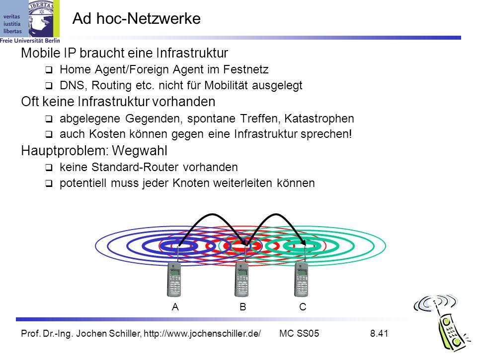 Prof. Dr.-Ing. Jochen Schiller, http://www.jochenschiller.de/MC SS058.41 Ad hoc-Netzwerke Mobile IP braucht eine Infrastruktur Home Agent/Foreign Agen