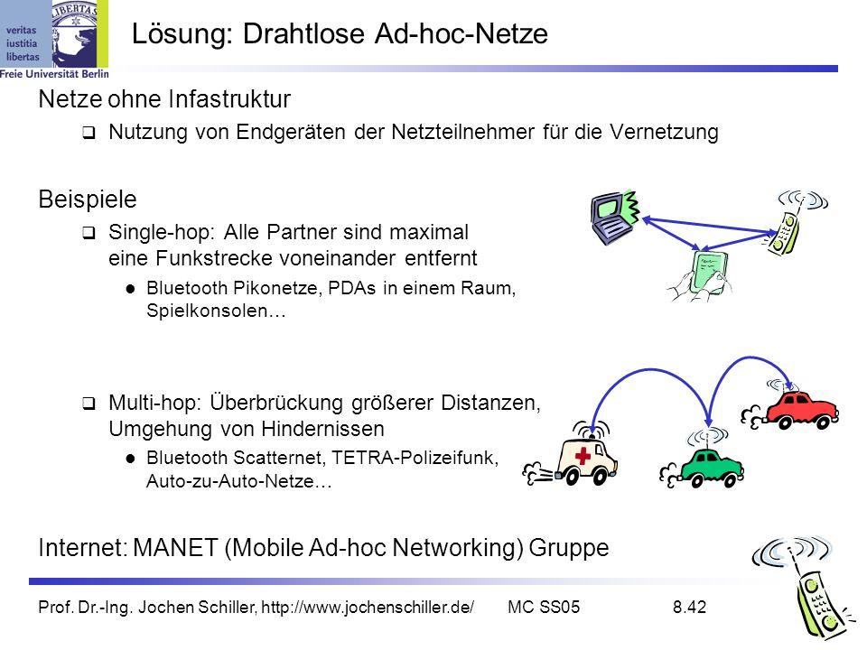 Prof. Dr.-Ing. Jochen Schiller, http://www.jochenschiller.de/MC SS058.42 Lösung: Drahtlose Ad-hoc-Netze Netze ohne Infastruktur Nutzung von Endgeräten