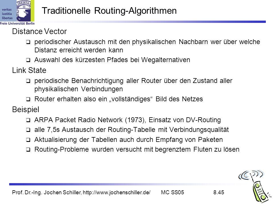 Prof. Dr.-Ing. Jochen Schiller, http://www.jochenschiller.de/MC SS058.45 Traditionelle Routing-Algorithmen Distance Vector periodischer Austausch mit