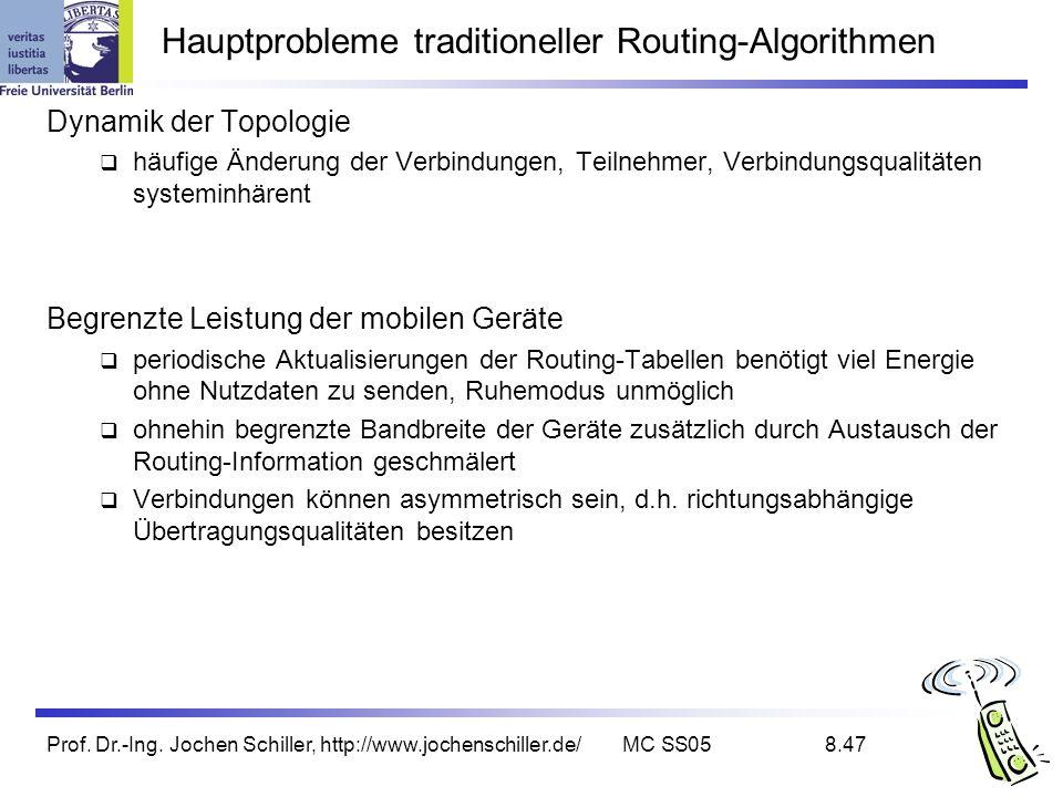 Prof. Dr.-Ing. Jochen Schiller, http://www.jochenschiller.de/MC SS058.47 Hauptprobleme traditioneller Routing-Algorithmen Dynamik der Topologie häufig