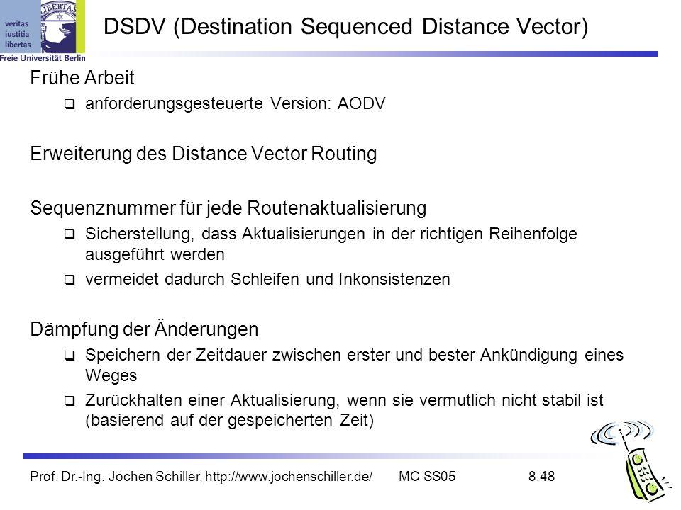 Prof. Dr.-Ing. Jochen Schiller, http://www.jochenschiller.de/MC SS058.48 DSDV (Destination Sequenced Distance Vector) Frühe Arbeit anforderungsgesteue
