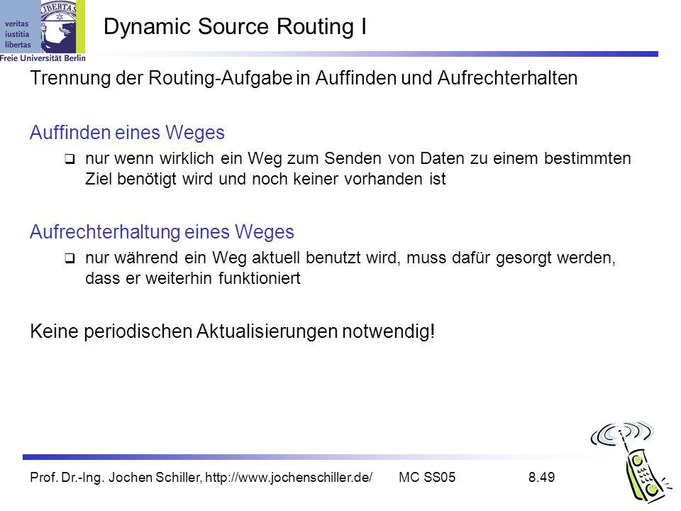 Prof. Dr.-Ing. Jochen Schiller, http://www.jochenschiller.de/MC SS058.49 Dynamic Source Routing I Trennung der Routing-Aufgabe in Auffinden und Aufrec