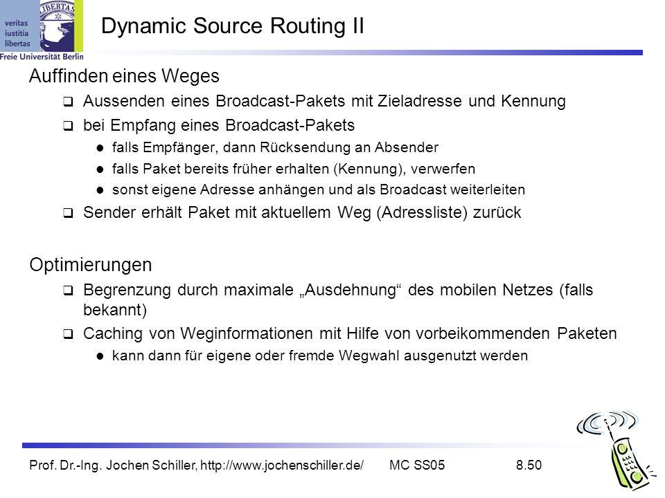 Prof. Dr.-Ing. Jochen Schiller, http://www.jochenschiller.de/MC SS058.50 Dynamic Source Routing II Auffinden eines Weges Aussenden eines Broadcast-Pak