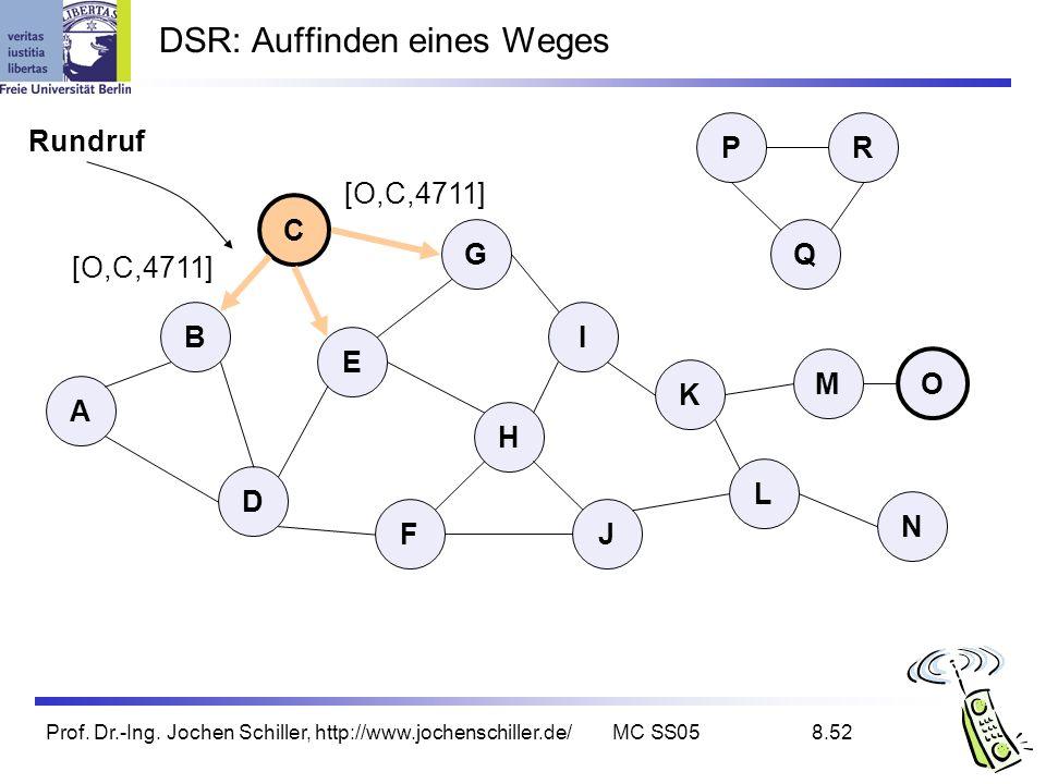 Prof. Dr.-Ing. Jochen Schiller, http://www.jochenschiller.de/MC SS058.52 DSR: Auffinden eines Weges Rundruf B A C G I D K L E H FJ Q P M N O R [O,C,47
