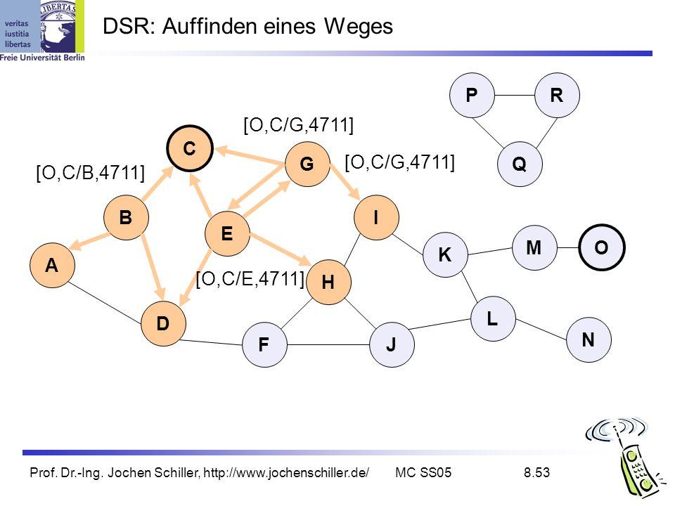 Prof. Dr.-Ing. Jochen Schiller, http://www.jochenschiller.de/MC SS058.53 DSR: Auffinden eines Weges B A C G I D K L E H FJ Q P M N O R [O,C/G,4711] [O