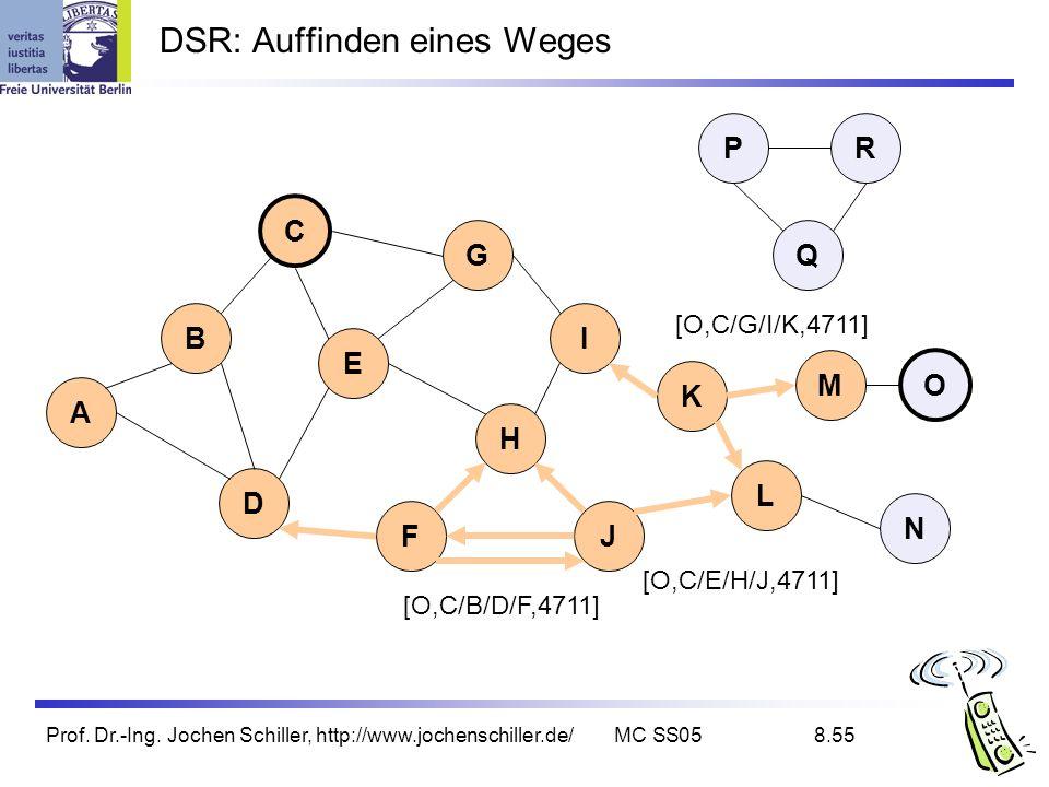 Prof. Dr.-Ing. Jochen Schiller, http://www.jochenschiller.de/MC SS058.55 DSR: Auffinden eines Weges B A C G I D K L E H FJ Q P M N O R [O,C/B/D/F,4711