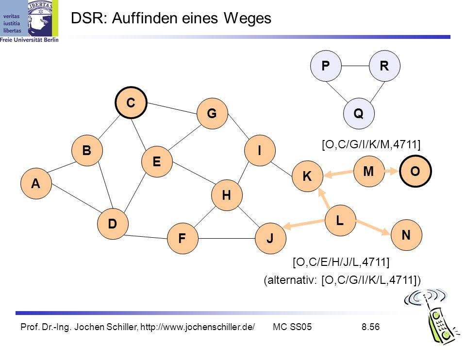 Prof. Dr.-Ing. Jochen Schiller, http://www.jochenschiller.de/MC SS058.56 DSR: Auffinden eines Weges B A C G I D K L E H FJ Q P M N O R [O,C/E/H/J/L,47
