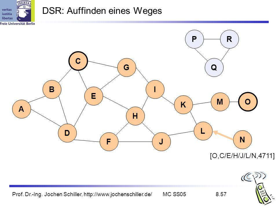 Prof. Dr.-Ing. Jochen Schiller, http://www.jochenschiller.de/MC SS058.57 DSR: Auffinden eines Weges B A C G I D K L E H FJ Q P M N O R [O,C/E/H/J/L/N,