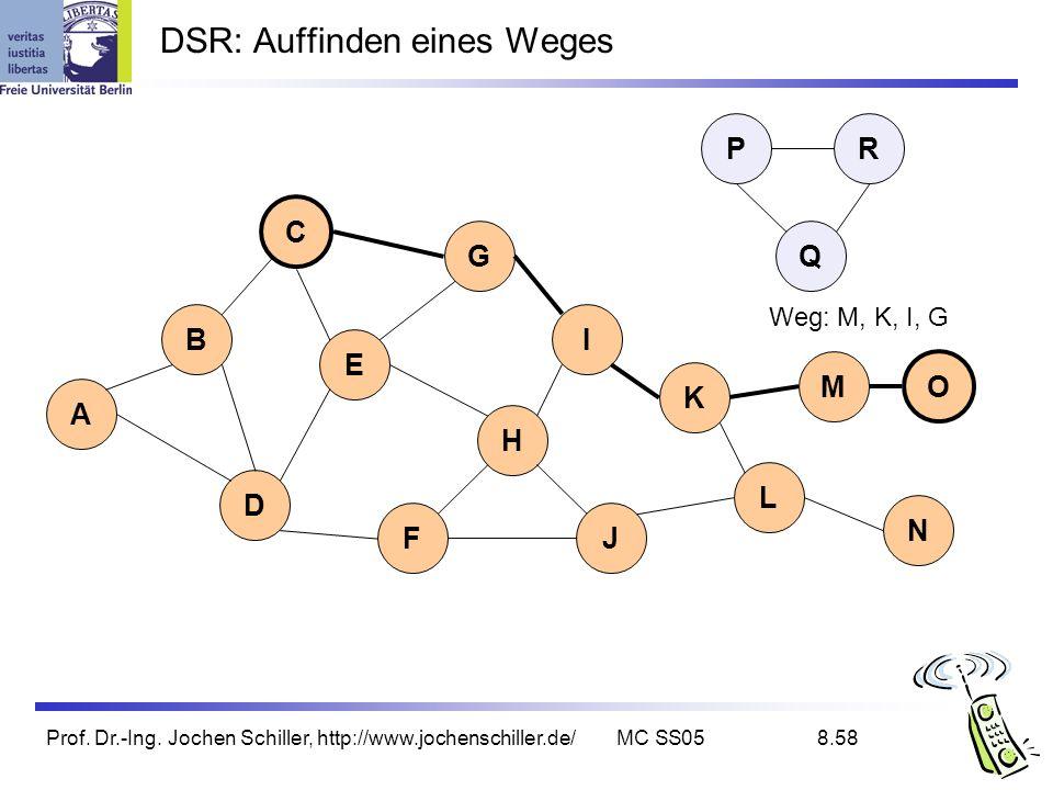 Prof. Dr.-Ing. Jochen Schiller, http://www.jochenschiller.de/MC SS058.58 DSR: Auffinden eines Weges B A C G I D K L E H FJ Q P M N O R Weg: M, K, I, G
