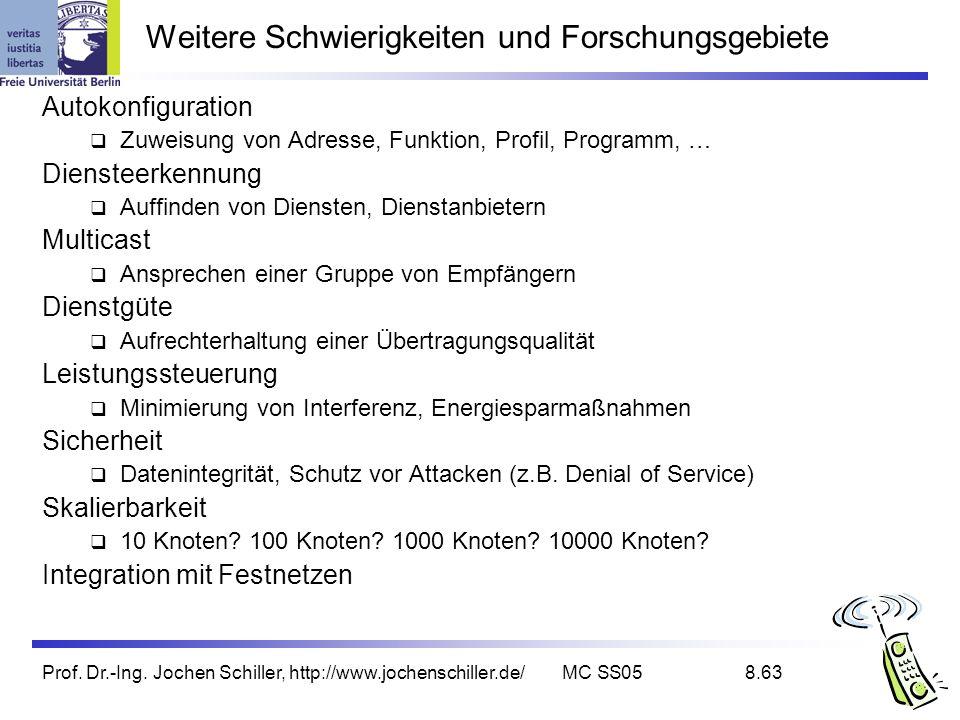 Prof. Dr.-Ing. Jochen Schiller, http://www.jochenschiller.de/MC SS058.63 Weitere Schwierigkeiten und Forschungsgebiete Autokonfiguration Zuweisung von
