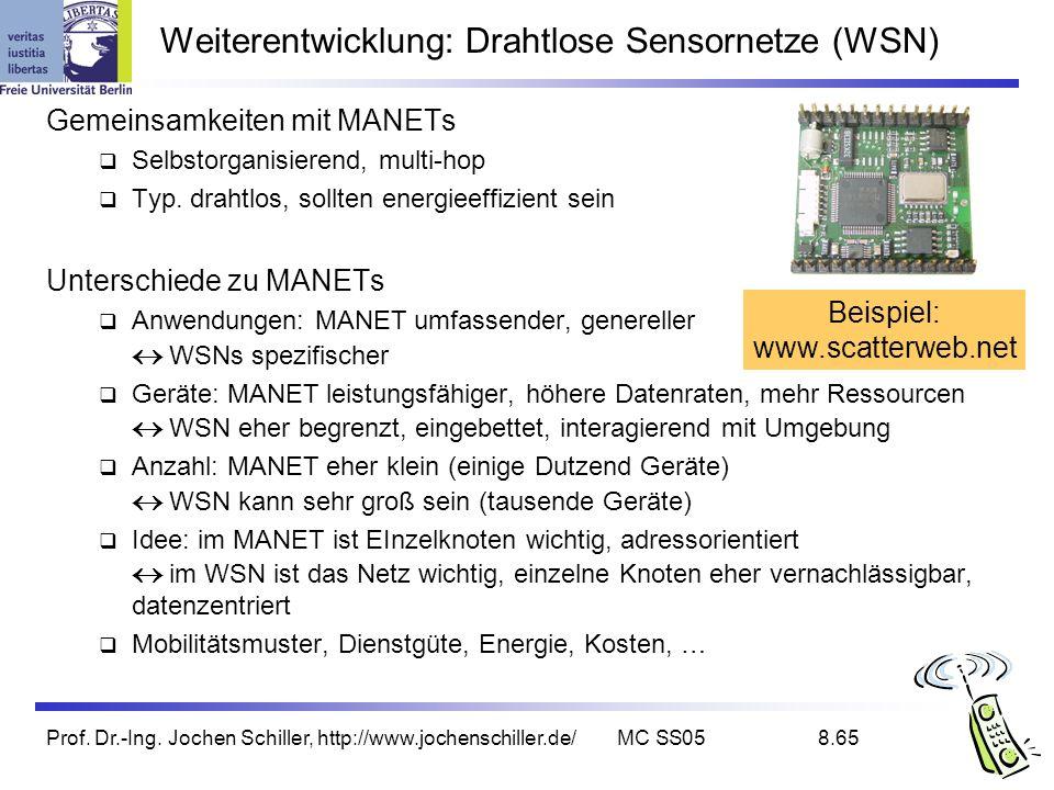 Prof. Dr.-Ing. Jochen Schiller, http://www.jochenschiller.de/MC SS058.65 Weiterentwicklung: Drahtlose Sensornetze (WSN) Gemeinsamkeiten mit MANETs Sel