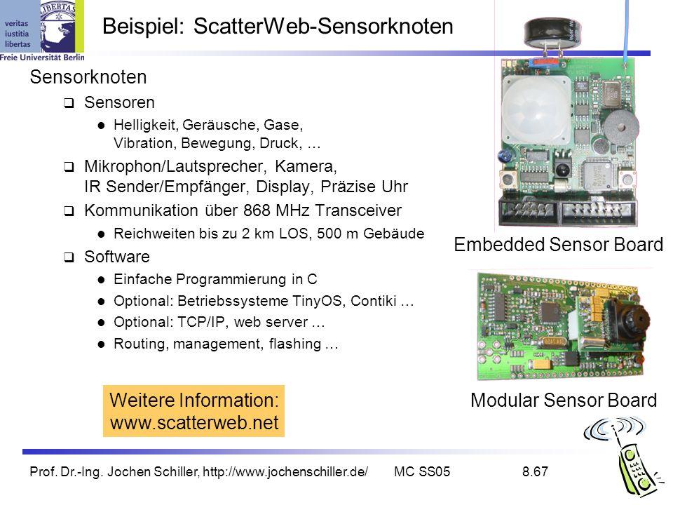 Prof. Dr.-Ing. Jochen Schiller, http://www.jochenschiller.de/MC SS058.67 Beispiel: ScatterWeb-Sensorknoten Sensorknoten Sensoren Helligkeit, Geräusche