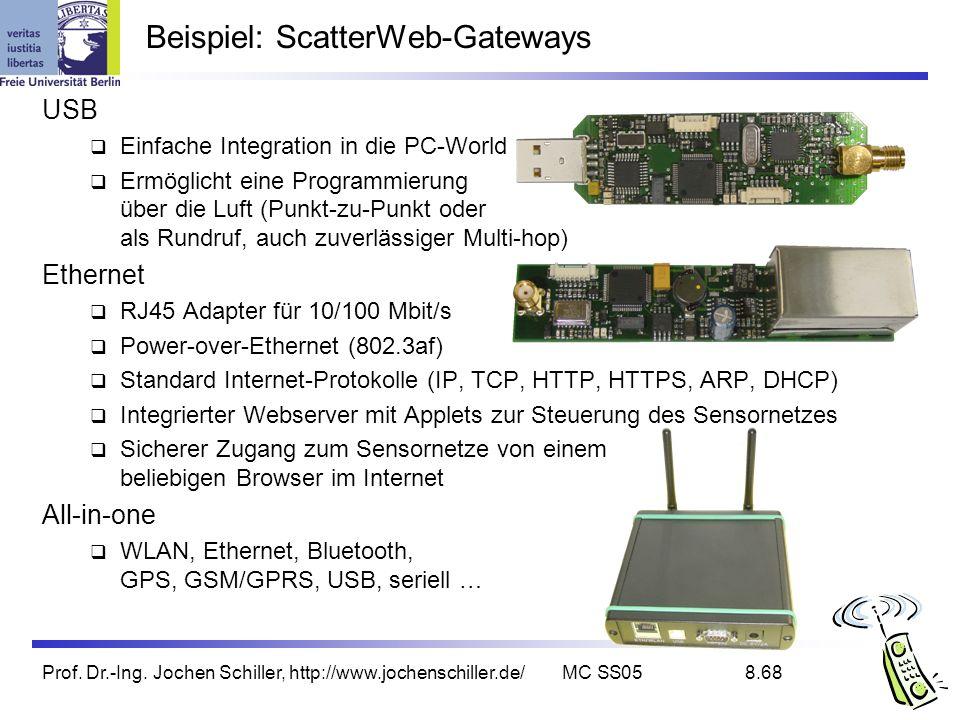 Prof. Dr.-Ing. Jochen Schiller, http://www.jochenschiller.de/MC SS058.68 Beispiel: ScatterWeb-Gateways USB Einfache Integration in die PC-World Ermögl