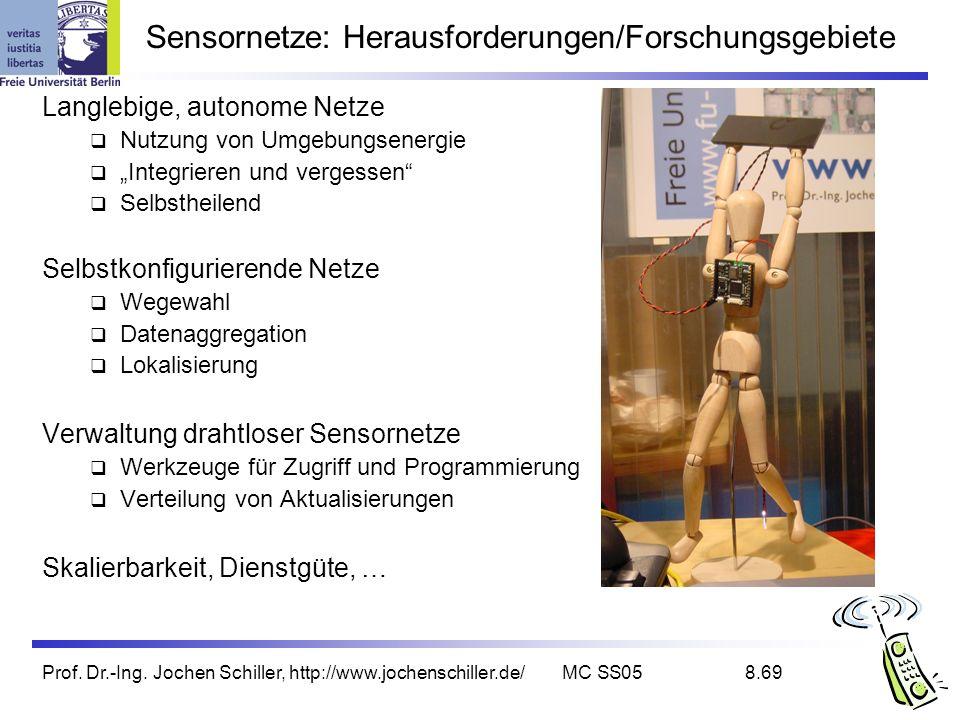 Prof. Dr.-Ing. Jochen Schiller, http://www.jochenschiller.de/MC SS058.69 Sensornetze: Herausforderungen/Forschungsgebiete Langlebige, autonome Netze N