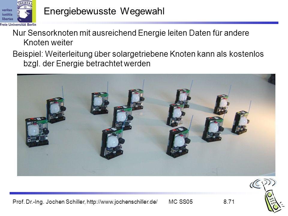 Prof. Dr.-Ing. Jochen Schiller, http://www.jochenschiller.de/MC SS058.71 Energiebewusste Wegewahl Nur Sensorknoten mit ausreichend Energie leiten Date