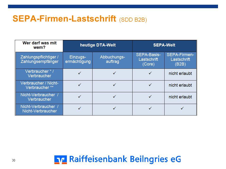 SEPA-Firmen-Lastschrift (SDD B2B) 30