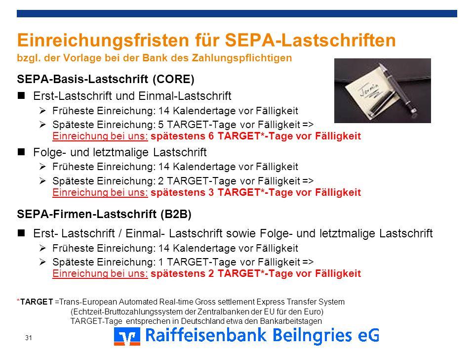 SEPA-Basis-Lastschrift (CORE) Erst-Lastschrift und Einmal-Lastschrift Früheste Einreichung: 14 Kalendertage vor Fälligkeit Späteste Einreichung: 5 TAR